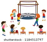 people excited in front of... | Shutterstock .eps vector #1184513797