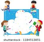 children reading around a blue... | Shutterstock .eps vector #1184513851