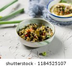 spicy marinated chives | Shutterstock . vector #1184525107