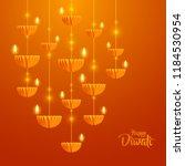 happy diwali. hanging paper... | Shutterstock .eps vector #1184530954