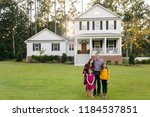 family of four with daughters... | Shutterstock . vector #1184537851