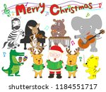 christmas concert at the zoo.... | Shutterstock .eps vector #1184551717