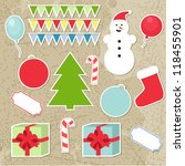 set of christmas stickers ...   Shutterstock .eps vector #118455901