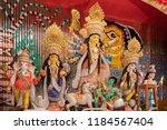 goddess durga idol at decorated ... | Shutterstock . vector #1184567404