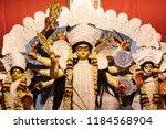 goddess durga idol at decorated ... | Shutterstock . vector #1184568904