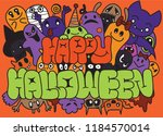 happy halloween  set of funny... | Shutterstock .eps vector #1184570014