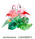 watercolor print tropical... | Shutterstock . vector #1184580871