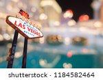 famous las vegas sign at night... | Shutterstock . vector #1184582464