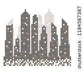 city skyline building pixels ... | Shutterstock .eps vector #1184587387