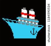 ship pixel art. 8 bit steamboat ... | Shutterstock .eps vector #1184590534