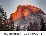 sunset view on half dome ... | Shutterstock . vector #1184593741
