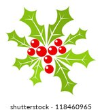 Christmas holly berry illustration - stock vector
