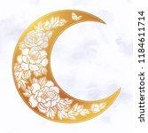 beautiful romantic crescent moon   Shutterstock .eps vector #1184611714