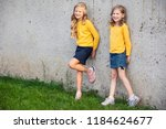 two little girls stand and... | Shutterstock . vector #1184624677