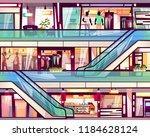 mall shop with escalator... | Shutterstock .eps vector #1184628124
