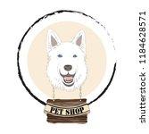 shepherd dog head for pet shop... | Shutterstock .eps vector #1184628571