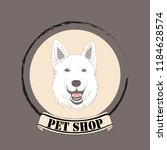 shepherd dog head for pet shop... | Shutterstock .eps vector #1184628574