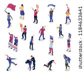 protesting people with placards ... | Shutterstock .eps vector #1184633641