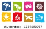tourism and travel icons set | Shutterstock .eps vector #1184650087