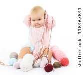 Stock photo cute little baby girl with colored thread isolated on white background 118467841