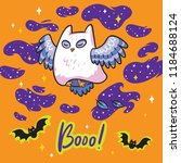 funny print with owl the ghost... | Shutterstock .eps vector #1184688124