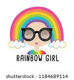 rainbow cute girl vector... | Shutterstock .eps vector #1184689114