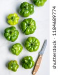 green peppers of different size ... | Shutterstock . vector #1184689774