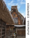 the early winter of shirakawago ... | Shutterstock . vector #1184690824