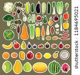 set of fruits and vegetables.... | Shutterstock .eps vector #1184695021