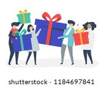 friends exchanging gift boxes ... | Shutterstock .eps vector #1184697841