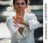 woman practicing tai chi quan... | Shutterstock . vector #1184702854