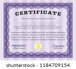 violet diploma or certificate... | Shutterstock .eps vector #1184709154