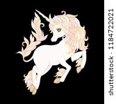 white unicorn with rose gold... | Shutterstock .eps vector #1184722021