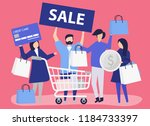 people shopping with a credit... | Shutterstock .eps vector #1184733397