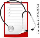 realistic stethoscope and notes....   Shutterstock .eps vector #118473349