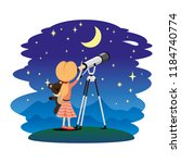 girl observes the stars in a... | Shutterstock .eps vector #1184740774