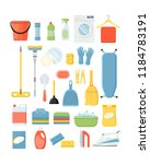 set of different cleaning and... | Shutterstock .eps vector #1184783191
