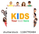 children's group with animal... | Shutterstock . vector #1184790484