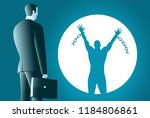 the businessman looks at his...   Shutterstock .eps vector #1184806861