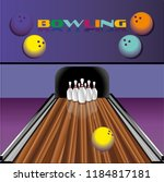 bowling club poster pins | Shutterstock .eps vector #1184817181