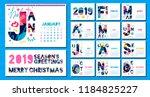 wall monthly calendar template... | Shutterstock .eps vector #1184825227