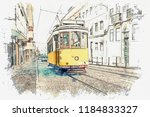 sketch with watercolor or... | Shutterstock . vector #1184833327