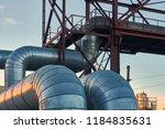 industrial huge pipes on metal... | Shutterstock . vector #1184835631