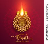happy diwali festival card with ... | Shutterstock .eps vector #1184848447