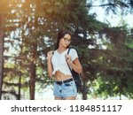 young woman traveler in casual... | Shutterstock . vector #1184851117