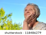 senior woman looking on sky and ... | Shutterstock . vector #118486279