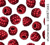 raspberry seamless pattern.... | Shutterstock .eps vector #1184871661