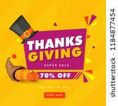 thanksgiving super sale poster...   Shutterstock .eps vector #1184877454