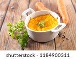 gourmet carrot flan or souffle | Shutterstock . vector #1184900311