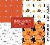 cute halloween pattern set... | Shutterstock .eps vector #1184902357
